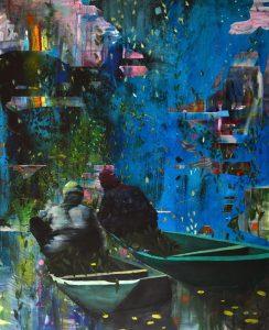 Going, 2018, culori de ulei si spray pant pe panza, 200 x 160 cm