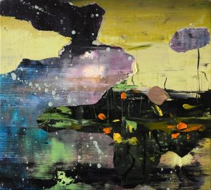 Little Aurora Borealis, 2017, culori de ulei si spray paint pe panza, 20 x 18 cm