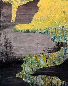 Graphite, 2017, culori de ulei si spray paint pe blat de lemn, 14 x 11 cm