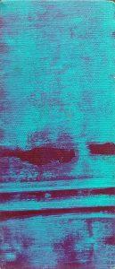 Magenta Cut, 2018, culori de ulei si spray paint pe panza, 17 x 7,5 cm