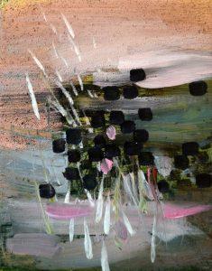Pink Glimpse, 2018, culori de ulei si spray paint pe blat de lemn, 14 x 11 cm