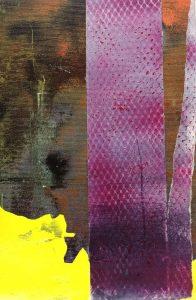 ZOOM, 2018, culori de ulei si spray paint pe panza, 30 x 20 cm