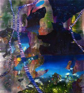 Blue Impression, 2018. culori de ulei si spray pe panza, 96 x 87 cm