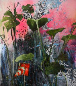 Stoned Memory, 2018, culori de ulei si pray paint pe panza, 158 x 140 cm