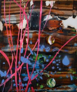 I have Balls, 2018, culori de ulei si spray paint pe blat de lemn, 20 x 17 cm